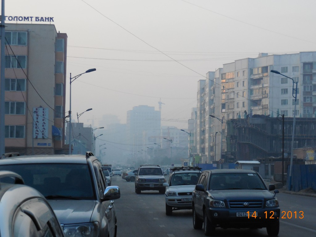 Haze over the downtown core, Ulaanbaatar, Mongolia.