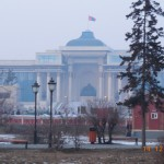Suukhbaatar Square in the haze, with the giant Genghis Khan statue.
