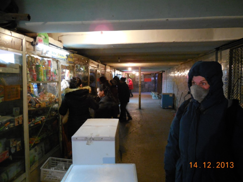 Underground walkway in Ulaanbaatar, with tiny shops selling a variety of stuff.