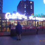 California Restaurant in Ulaanbaatar, Mongolia. Outside view with the sign all iit up, making the photo blurry.