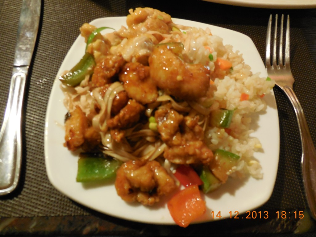 Orange and Kung Pao chicken at California Restaurant in Ulaanbaatar, Mongolia.