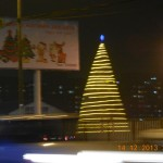 Christmas tree lit up in Ulaanbaatar, Mongolia.