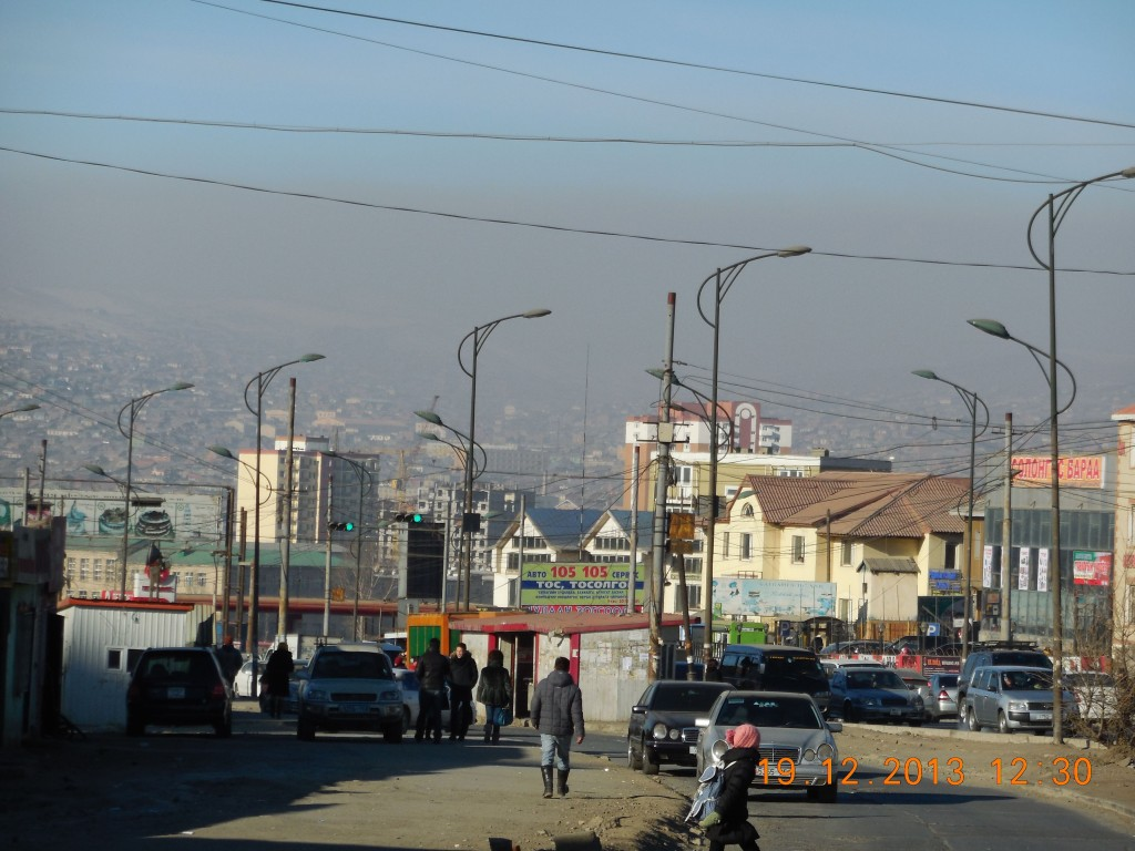 Smog hovering over the ger district of northern Ulaanbaatar. The ger districts stretch for kilometers along the northern boundary.