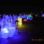 All the ice sculptures lit up.